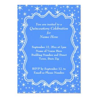 Modelo de estrella azul y blanco Quinceanera Invitación 12,7 X 17,8 Cm
