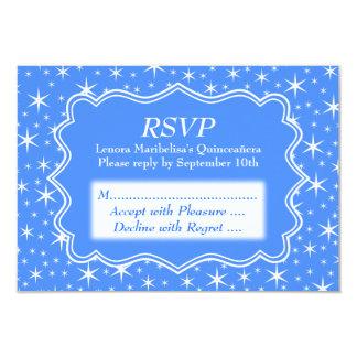 Modelo de estrella azul y blanco Quinceanera Invitación 8,9 X 12,7 Cm
