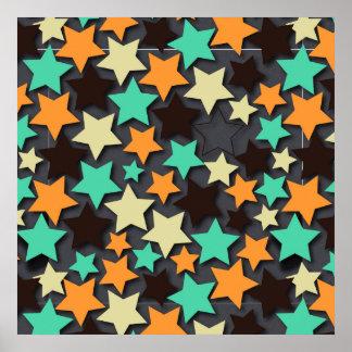Modelo de estrella colorido con el fondo oscuro póster