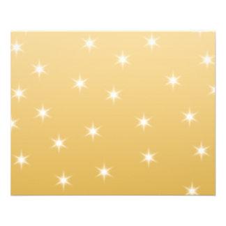 Modelo de estrella del blanco y del color oro folleto 11,4 x 14,2 cm