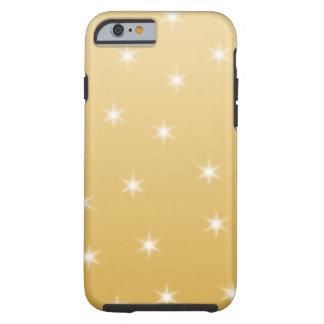 Modelo de estrella del blanco y del color oro funda de iPhone 6 tough