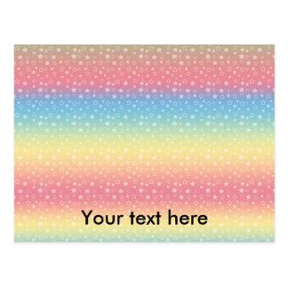 Modelo de estrella en colores pastel del arco iris postal