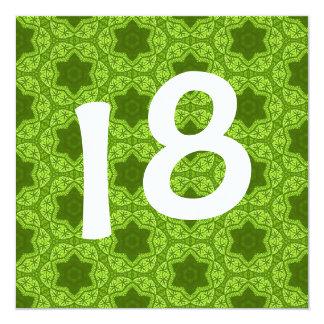 Modelo de estrella geométrico del verde de la invitación 13,3 cm x 13,3cm