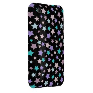 Modelo de estrellas azul y rosado púrpura en negro Case-Mate iPhone 3 coberturas