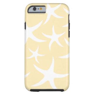 Modelo de estrellas de mar en blanco y amarillo funda de iPhone 6 tough