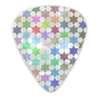 Modelo de estrellas ilustrado color vibrante púa de guitarra celuloide nacarado