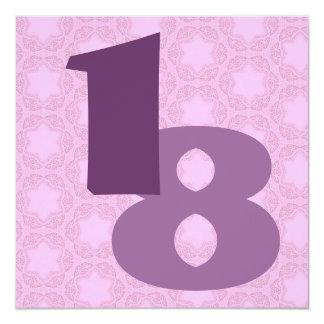Modelo de estrellas púrpura del rosa de encargo invitación 13,3 cm x 13,3cm
