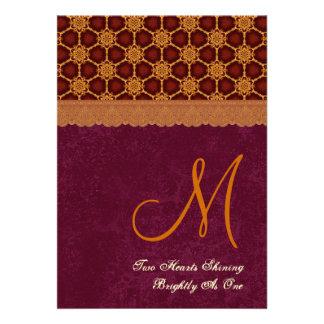 Modelo de estrellas retro del oro y de Borgoña que Comunicado Personalizado