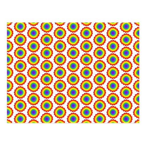 Modelo de flor del color del arco iris postales