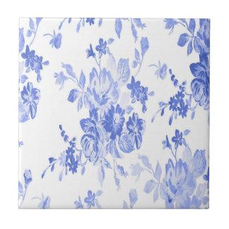Modelo de flores azules y blancas azulejo cuadrado pequeño