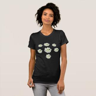 Modelo de flores blancas Cust. La camiseta de las