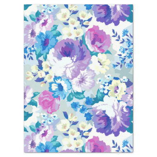 Modelo de flores blanco y azul rosado del verano papel de seda