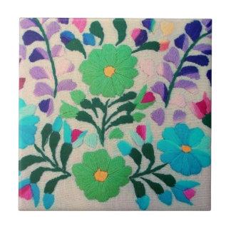 Modelo de flores colorido azulejo cuadrado pequeño