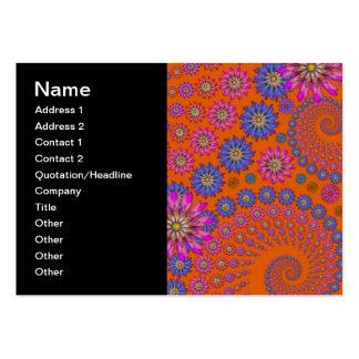 Modelo de flores colorido en el naranja tarjetas de visita grandes