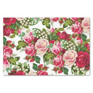 Modelo de flores rosado rojo de los rosas del papel de seda