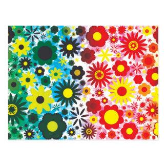 Modelo de flores verde rojo psicodélico 60s postal