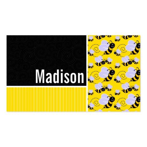 Modelo de la abeja amarilla y negra plantilla de tarjeta de negocio