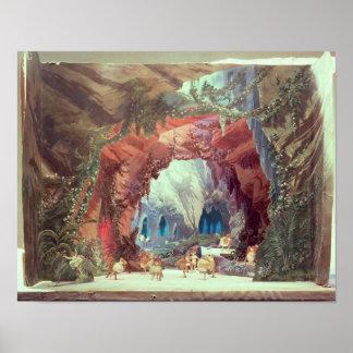 Modelo de la etapa para la ópera 'Tannhauser Impresiones