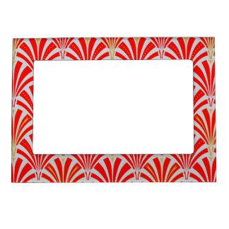 Modelo de la fan del art déco - rojo en gris de la foto de imanes