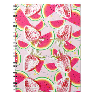 Modelo de la fiesta del melón de las fresas cuaderno