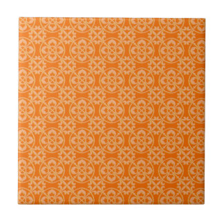 Modelo de la flor de lis en naranja azulejo cuadrado pequeño