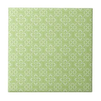 Modelo de la flor de lis en verde azulejo cuadrado pequeño