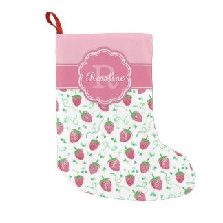 Modelo de la fresa de la acuarela con el monograma calcetín navideño pequeño