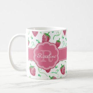Modelo de la fresa de la acuarela con el monograma taza de café