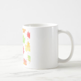 Modelo de la hoja de arce de la acuarela taza de café