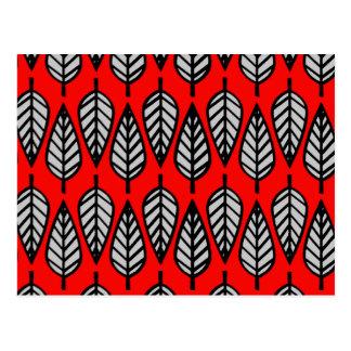 Modelo de la hoja de la haya - rojo, negro y postal