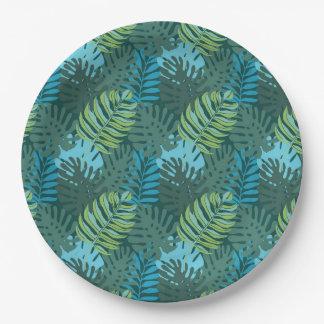 Modelo de la hoja de la selva de la selva tropical plato de papel