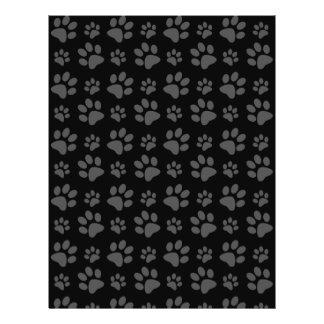 Modelo de la impresión de la pata del perro negro folleto 21,6 x 28 cm