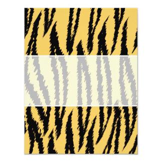 Modelo de la impresión del tigre. Naranja y negro Invitación 10,8 X 13,9 Cm