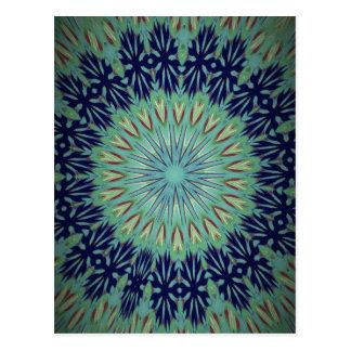 Modelo de la mandala del verde azul que calma postal