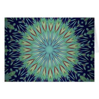 Modelo de la mandala del verde azul que calma tarjeta de felicitación