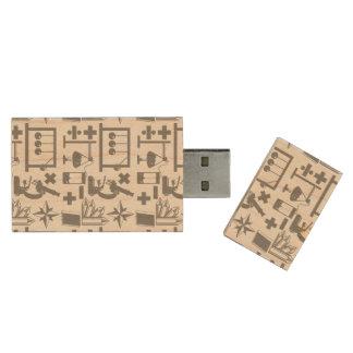Modelo de la matemáticas de la geografía de la memoria USB de madera