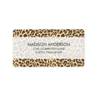 Modelo de la piel animal del estampado leopardo etiquetas de dirección