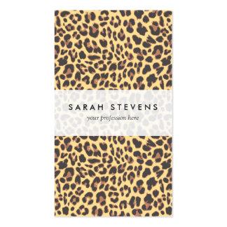 Modelo de la piel animal del estampado leopardo tarjetas de visita