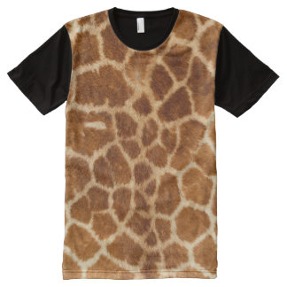 Modelo de la piel de la jirafa camiseta con estampado integral