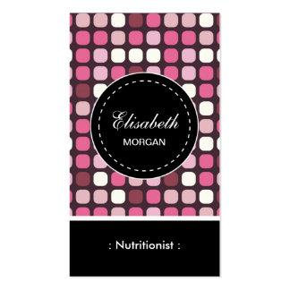 Modelo de la polca del rosa del nutricionista el tarjetas de visita