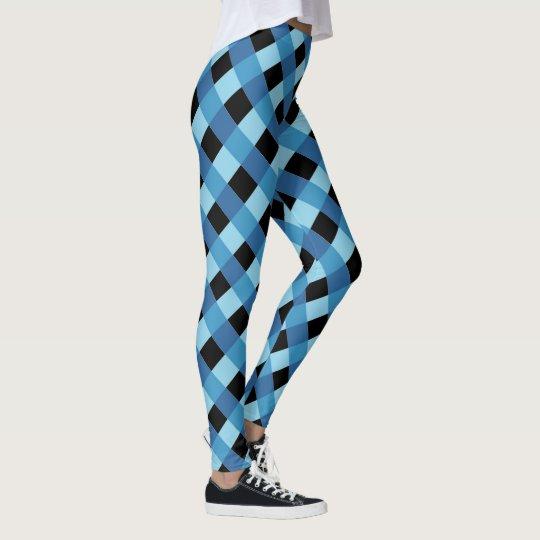 Modelo de la tela escocesa del negro azul leggings
