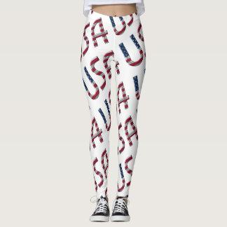 Modelo de la tipografía de la bandera americana de leggings