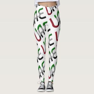 Modelo de la tipografía de la bandera de los UAE Leggings