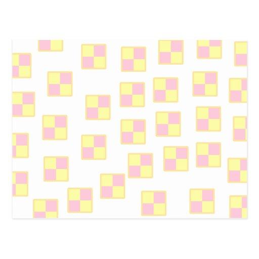Modelo de la torta de Battenburg. Rosa y amarillo Tarjetas Postales
