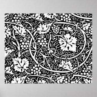 Modelo de la uva del papel pintado floral del vint poster