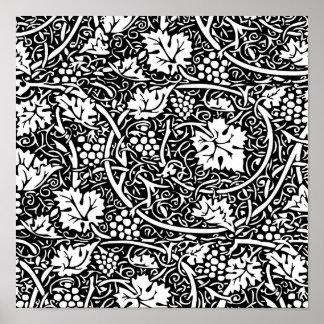 Modelo de la uva del papel pintado floral del vint posters