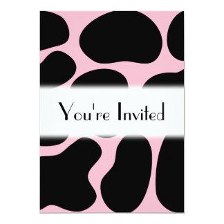 Modelo de la vaca en rosa y negro invitación 12,7 x 17,8 cm