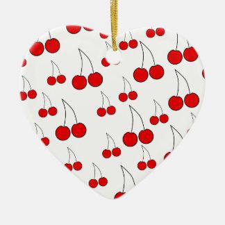 Modelo de las cerezas adorno de cerámica en forma de corazón