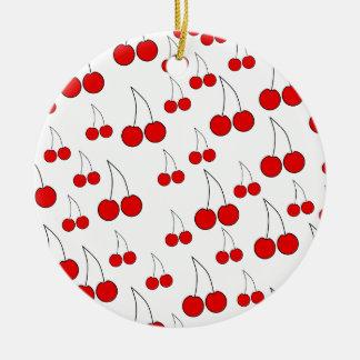 Modelo de las cerezas adorno redondo de cerámica