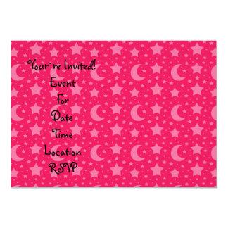 Modelo de las estrellas y de las lunas del rosa invitación 12,7 x 17,8 cm